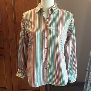 Foxcroft wrinkle-free, shaped fit striped shirt